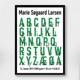 Fødselsplakat - Alfabet grøn A3