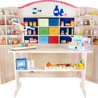 Legebutik og dukketeater i træ