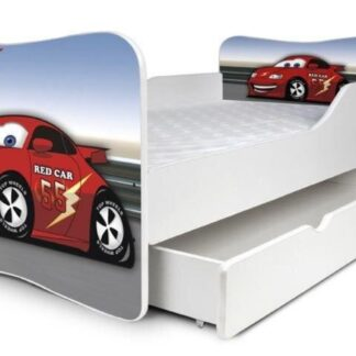 Rød juniorseng bil med skuffe & madras - Viderestillet